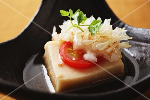 Tofu with tomatoes and soy sauce (Japan)