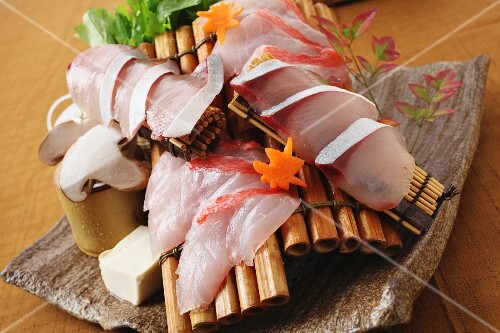 Yellowtail sashimi with mushrooms and tofu (Japan)