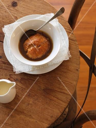 Apple dumplings on a rustic table