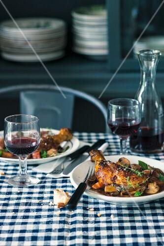 Cog au vin (Chicken in wine, France)