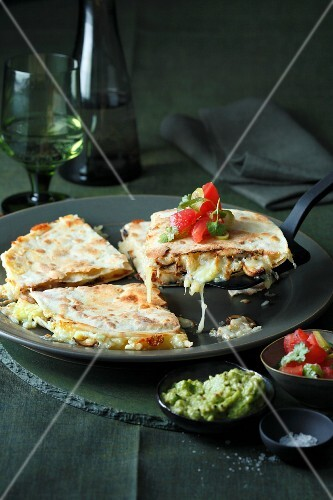 Quesadillas with mushrooms and guacamole (Mexico)