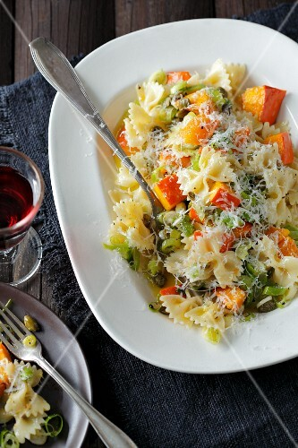 Farfalle with pumpkin and caper vinaigrette