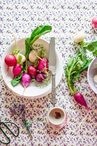 Various different types of radishes on a plate with a knife