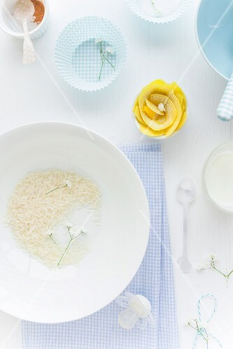 Ingredients for rice pudding as baby food