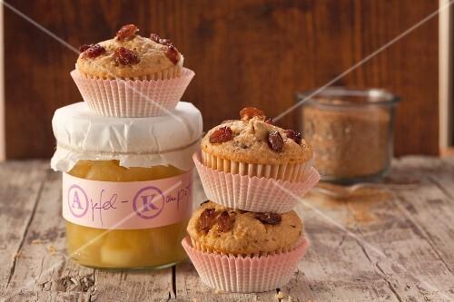 Apple sauce muffins with raisins
