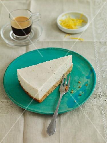 A slice of vegan cream cheese cake