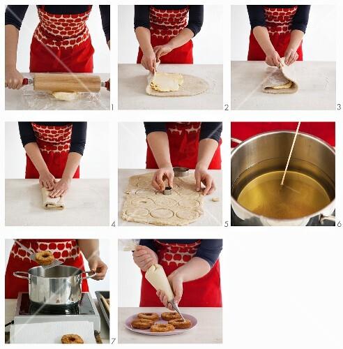 Vegan croissant-doughnuts being made