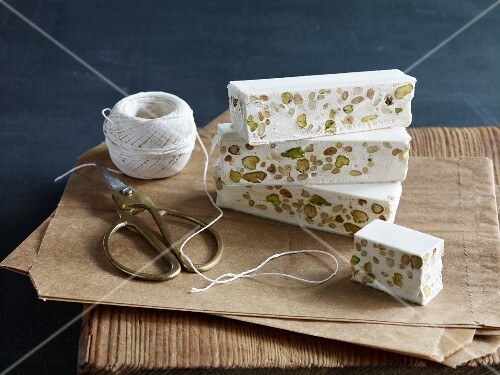 Turron with pistachios and pine nuts