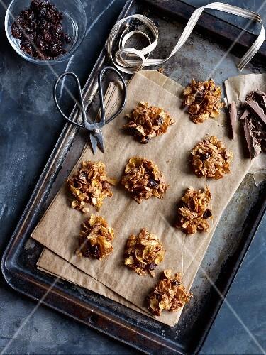 Crispy chocolate bites made with cornflakes, raisins and chocolate