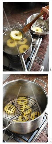 Candied pineapple rings being made