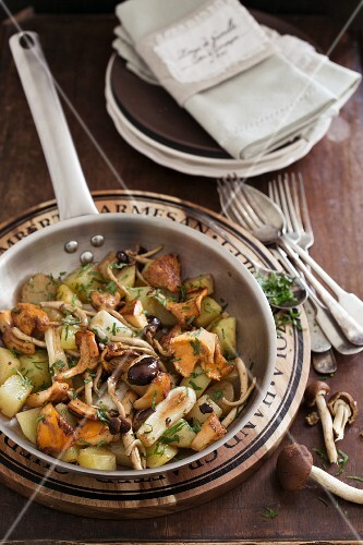 Autumnal fried potatoes with fresh wild mushrooms