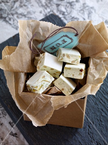 Turron with basil and lemon