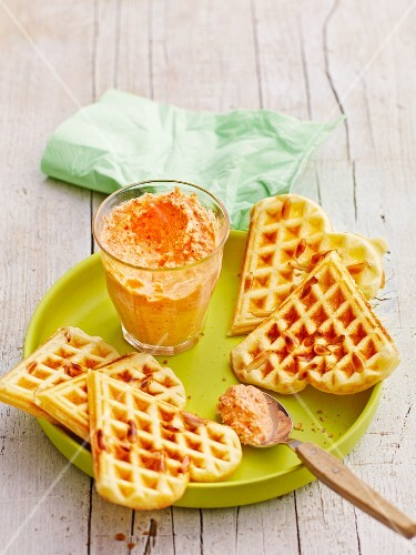 Pine nut waffles with pesto calabrese