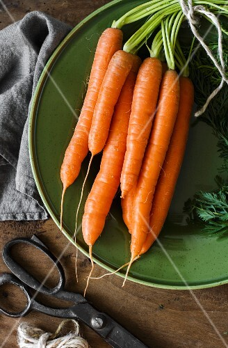 A bunch of carrots on a green plate
