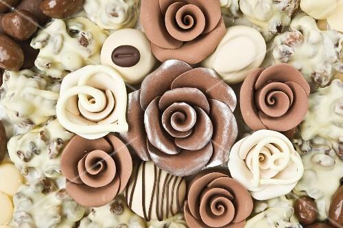 An arrangement of chocolate flowers