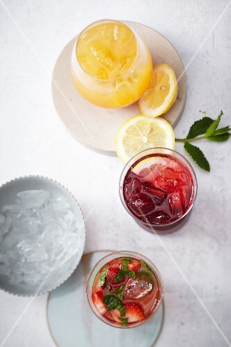 Various homemade lemonades and punches