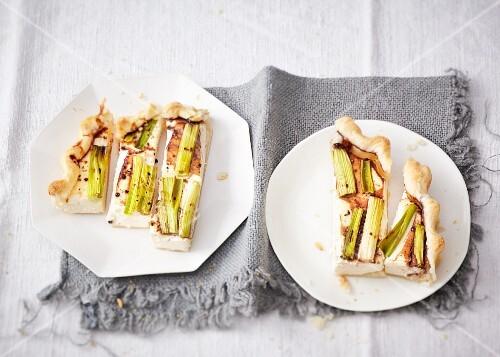 Ricotta and spring onion quiche