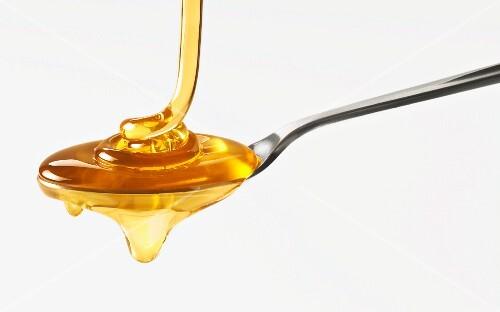 Spoon full of honey, close up