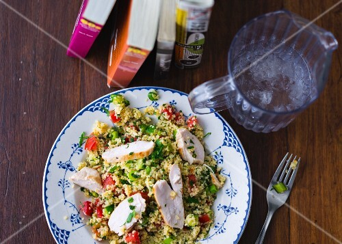 Couscous salad with chicken breast