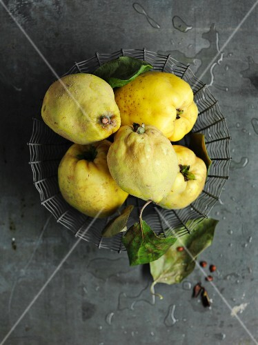 Quinces with leaves in a wire basket