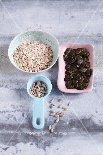 Spelt flakes, sunflower seeds and pumpkin seeds