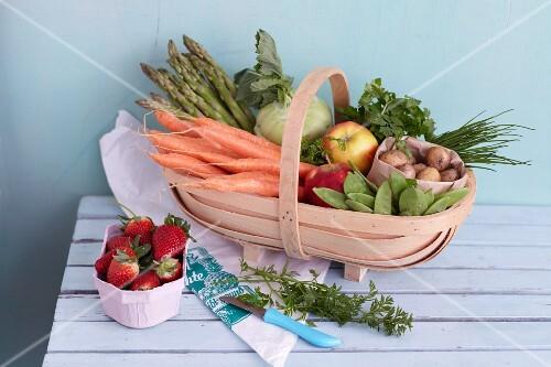 A basket of fresh fruit and vegetables
