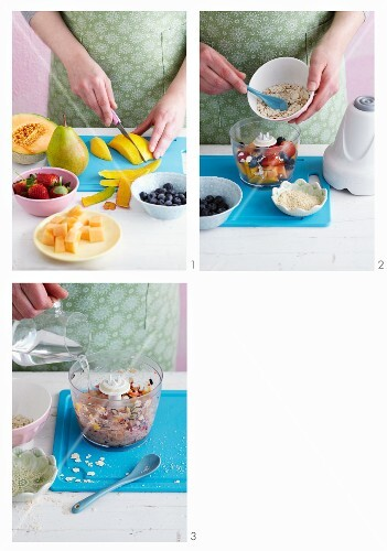 Cereal and fruit porridge being made