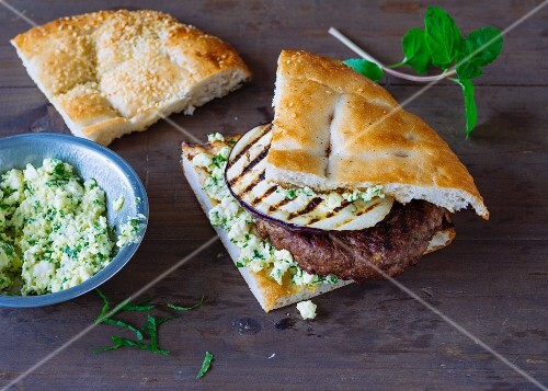 A lamb burger with mint in unleavened bread