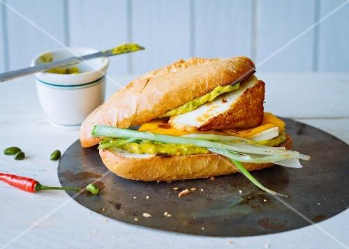 A warm Halloumi burger with pistachio cream