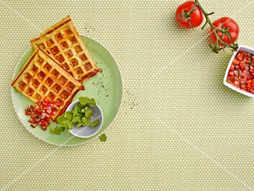 Avocado waffles with tomato salsa