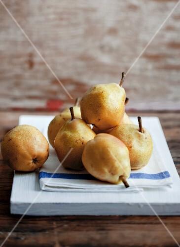 Pears on a tea towel
