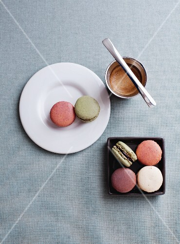 Various macaroons and an espresso