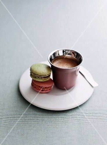 Two macaroons and an espresso