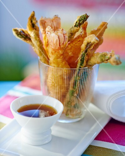 Battered scampi and green asparagus