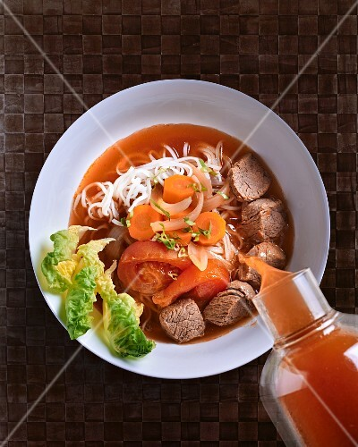 Noodle soup with beef and vegetables