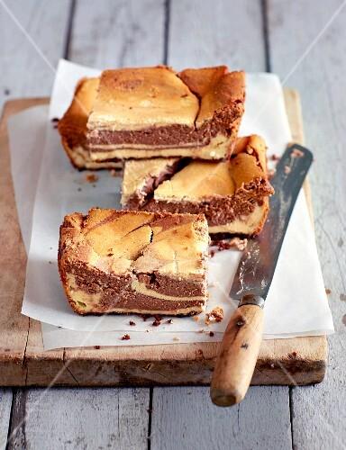 Marbled cheesecake, sliced