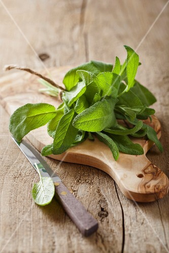 Fresh sage on a chopping board
