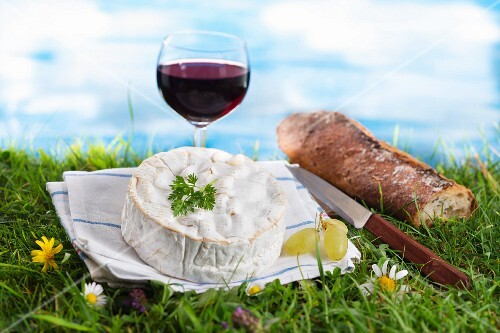 An arrangement of cheese featuring Camembert and red wine