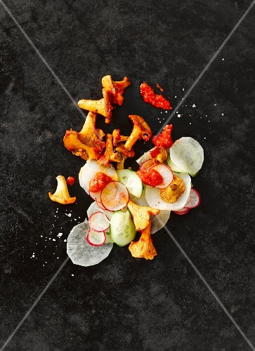 Chanterelle mushrooms with sliced radish and horseradish, cucumber and red pesto