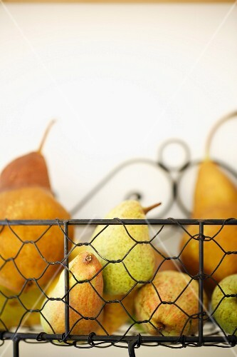 Pears in a wire basket