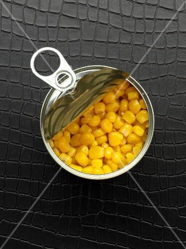 An opened tin of sweetcorn