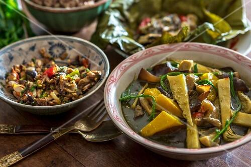 Bamboo curry and a mushroom dip, Laos