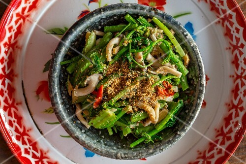 Mixed vegetables with sesame seeds, Laos