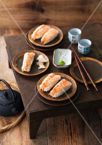Nigiri sushi with prawns