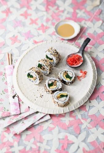 Uramaki sushi with grilled carp