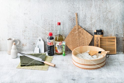 Japanese cooking utensils and ingredients for making sushi