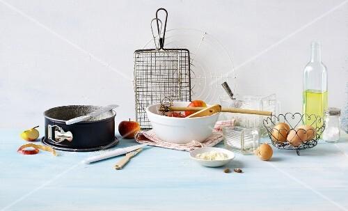 An arrangement of baking ingredients and baking utensils