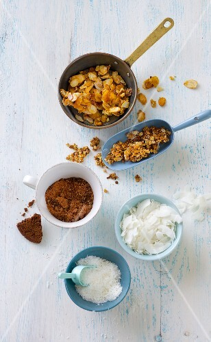 Almond and oat brittle, biscuit crumbs, coconut chips and grated coconut