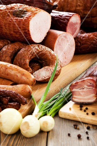 Various cold cuts with onions