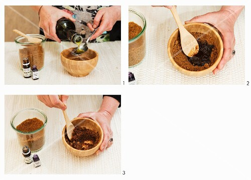 An exfoliating scrub being made from cane sugar, olive oil and essential oils
